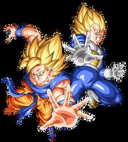 Goku and Vegeta Super Saiyajin by arbiter720