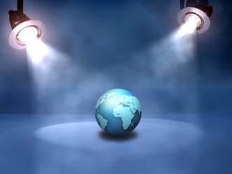 globe under spotlights by AbhishekGhosh