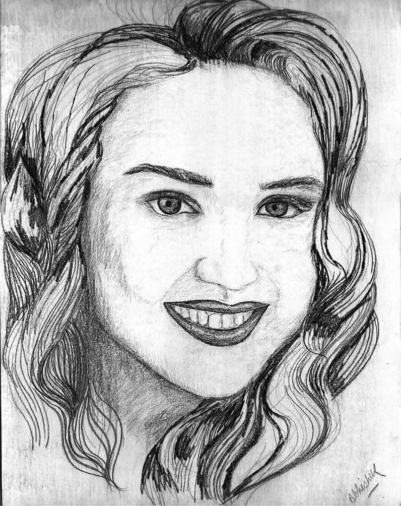 Indian Girl Sketch Black White