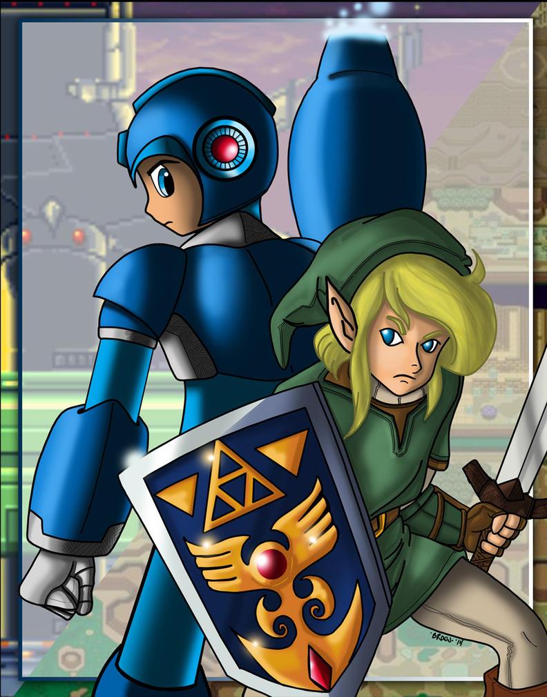 Megaman and Link by DarkstreamStudios