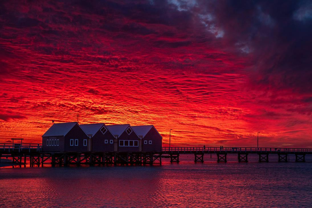 Busselton Jetty Sunset by paulmp