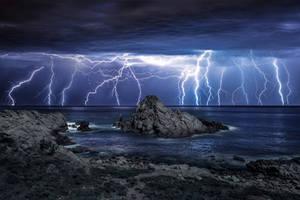 Lightning over Sugarloaf Rock