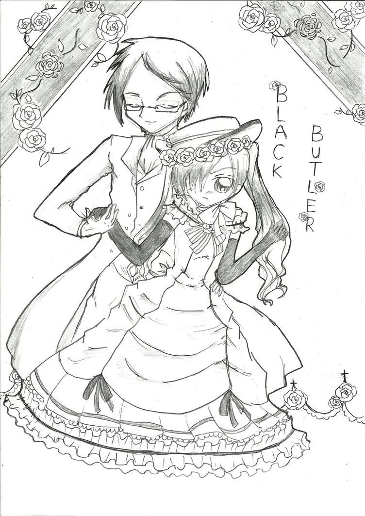 black butler ciel and sebastian coloring pages coloring pages Gothic Anime Coloring Pages  Black Butler Sebastian Coloring Pages