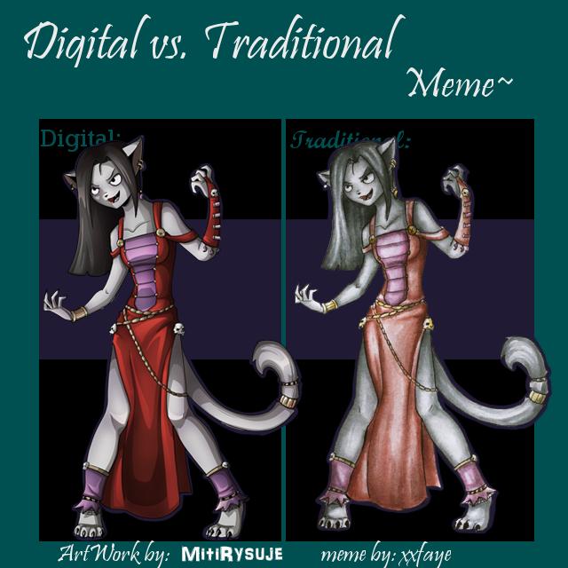 Digital vs. Traditional by MitiRysuje