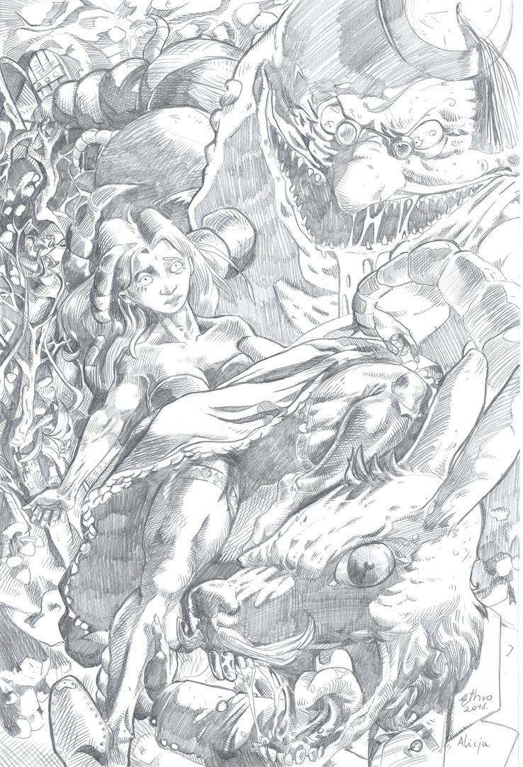 alice in the wonderland_sketch by R-ethro