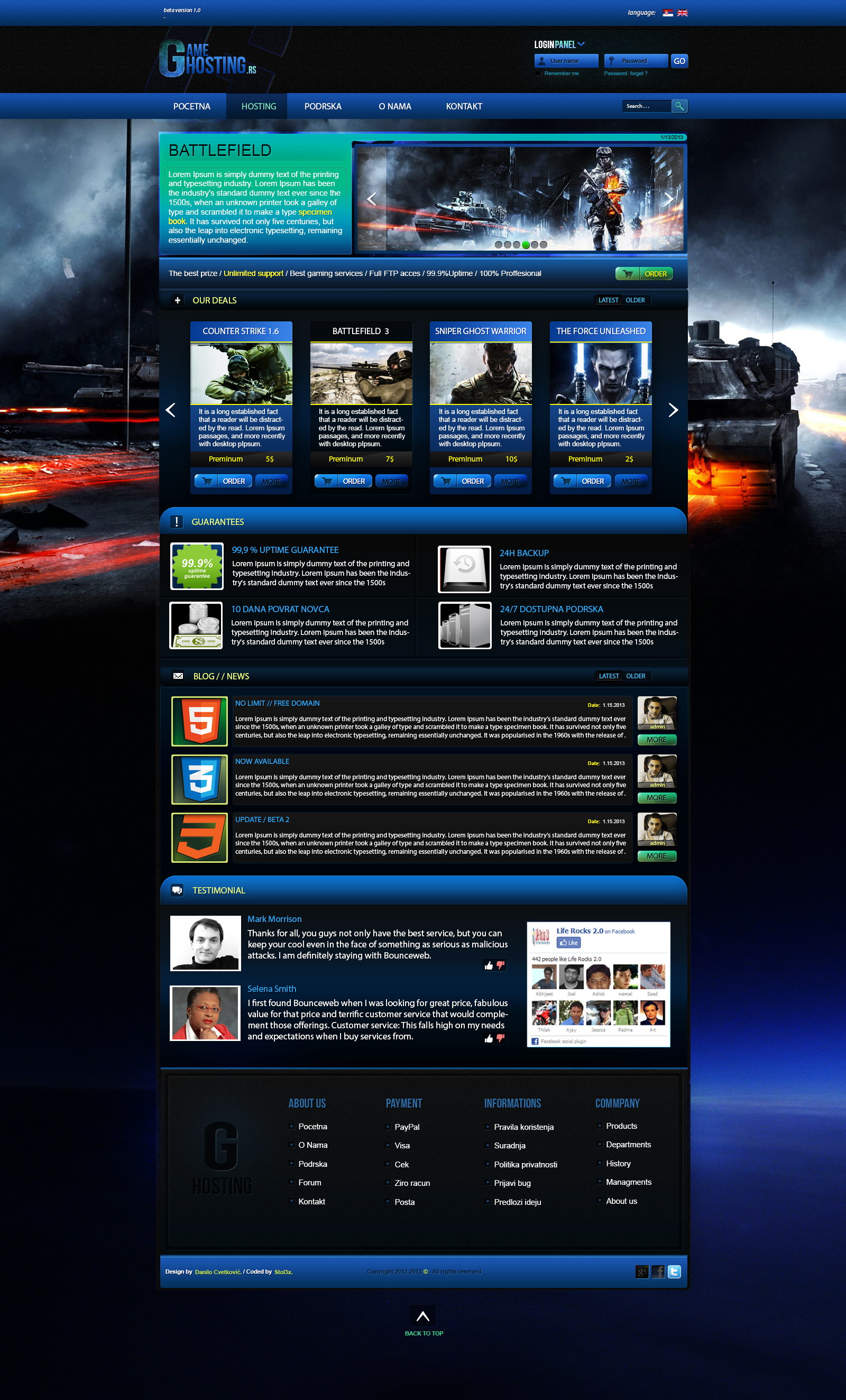 game hosting template for sale by danilozac on deviantart