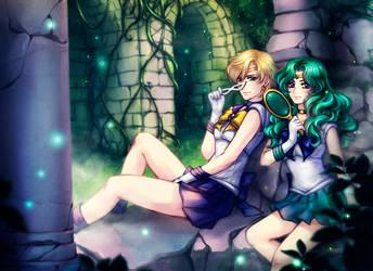 SM: Sailor Uranus x Sailor Neptune by Kay-I