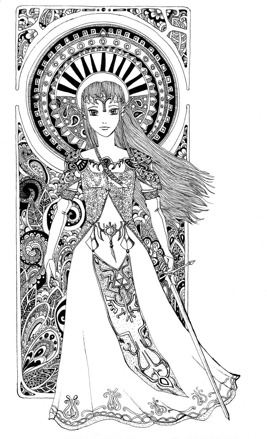 Zentangle Art Nouveau Zelda by Tekslus on DeviantArt
