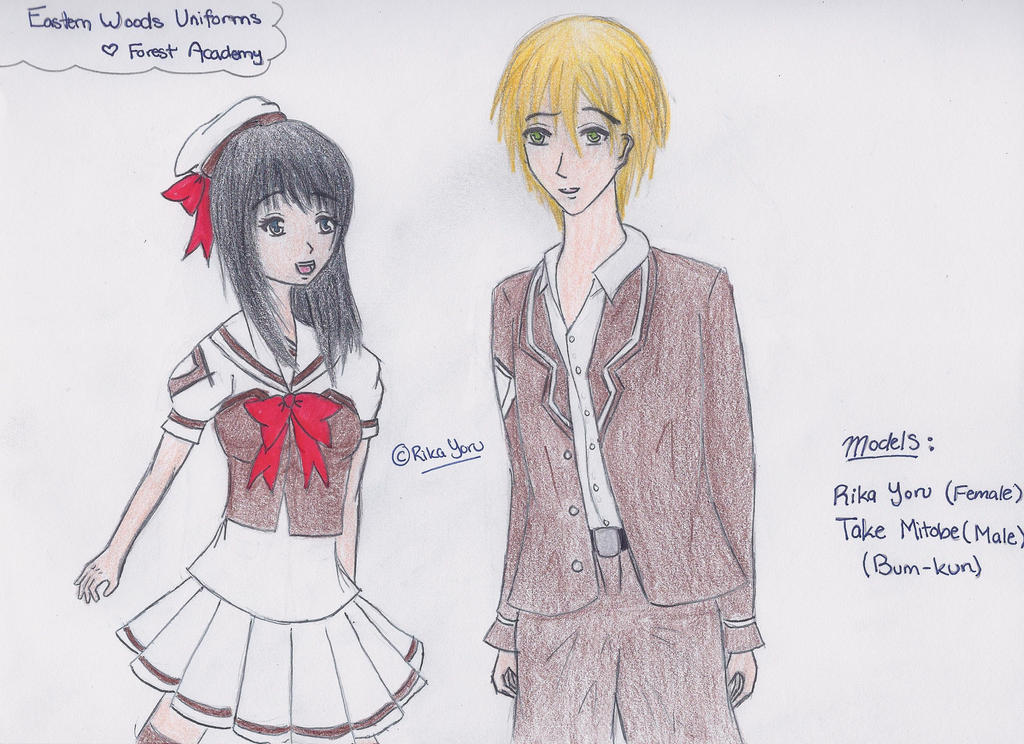Forest Academy- Eastern Woods Uniforms by RikaYoru