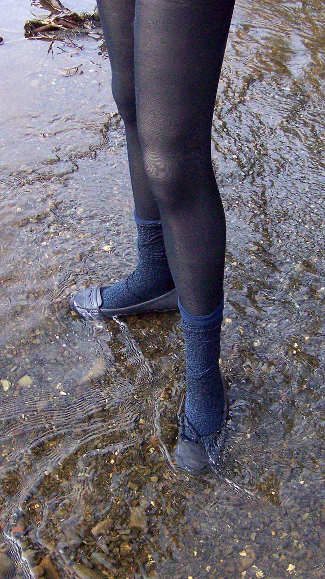 Jane Wading the Lake in Gray Suede Penny Loafers by peerlesspenny