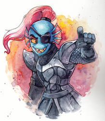 Undyne Watercolour Practice by CatbeeCache