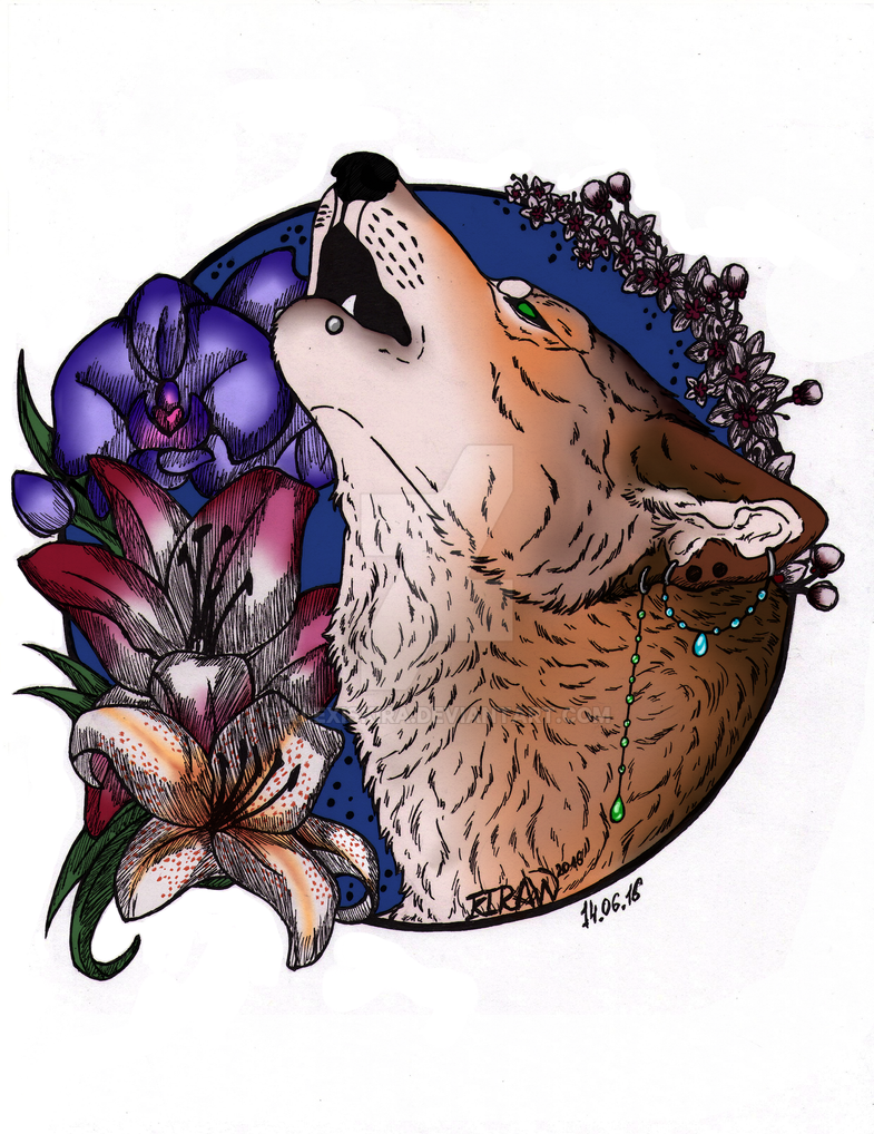 4034e8523 Howling wolf tattoo design 2016 Colored by AlexisKira on DeviantArt