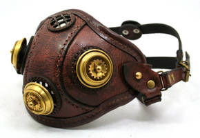 Steampunk Leather Mask made of distressed leather