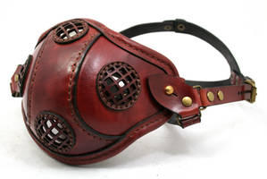 Steampunk Leather Mask rusty brown leather by AmbassadorMann
