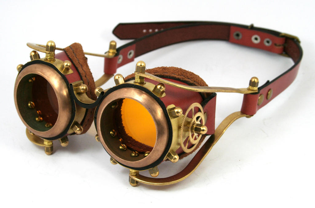 Steampunk goggles rusty-brown leather brass gears by AmbassadorMann