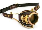 Steampunk mono-goggle brown leather 1