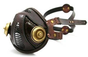 Steampunk Leather Mask brown brass filters by AmbassadorMann