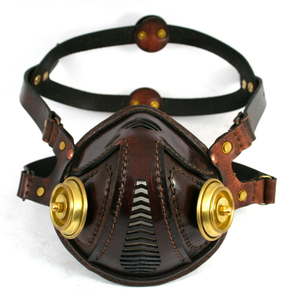 Steampunk Leather Mask brown brass filters 2 by AmbassadorMann