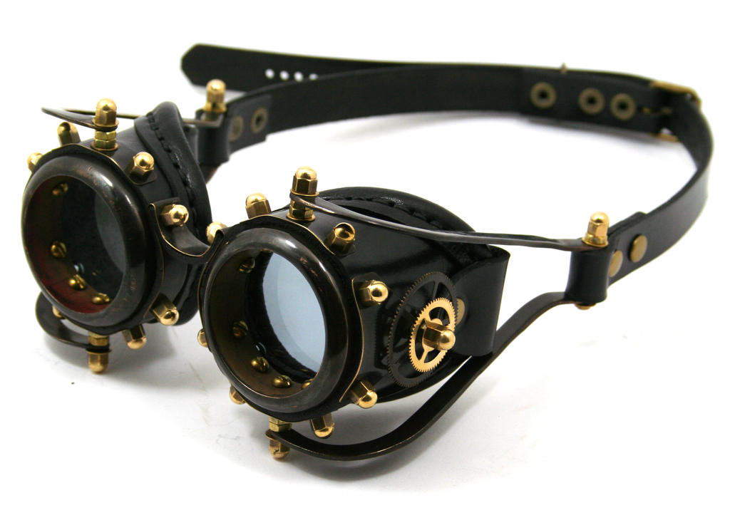 Steampunk goggles 2 - blackened brass by AmbassadorMann