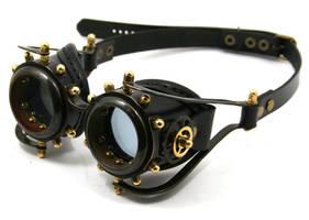 Steampunk goggles 2 - blackened brass by AmbassadorMann