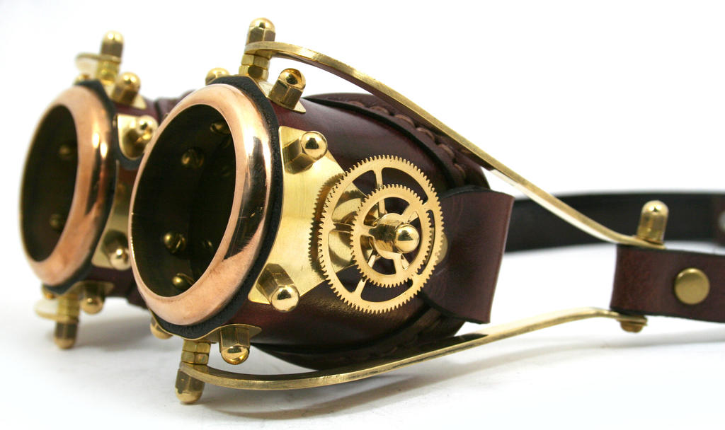 Steampunk goggles polished brass brown leather by AmbassadorMann