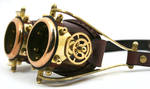 Steampunk goggles polished brass brown leather