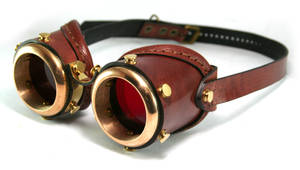Steampunk goggles - saddle brown leather by AmbassadorMann