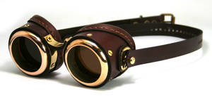 Brass Goggles (brown leather, polished brass)