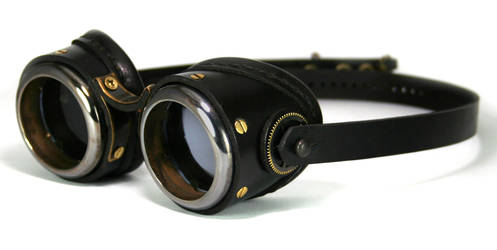 Brass Goggles (black leather, blackened brass) by AmbassadorMann