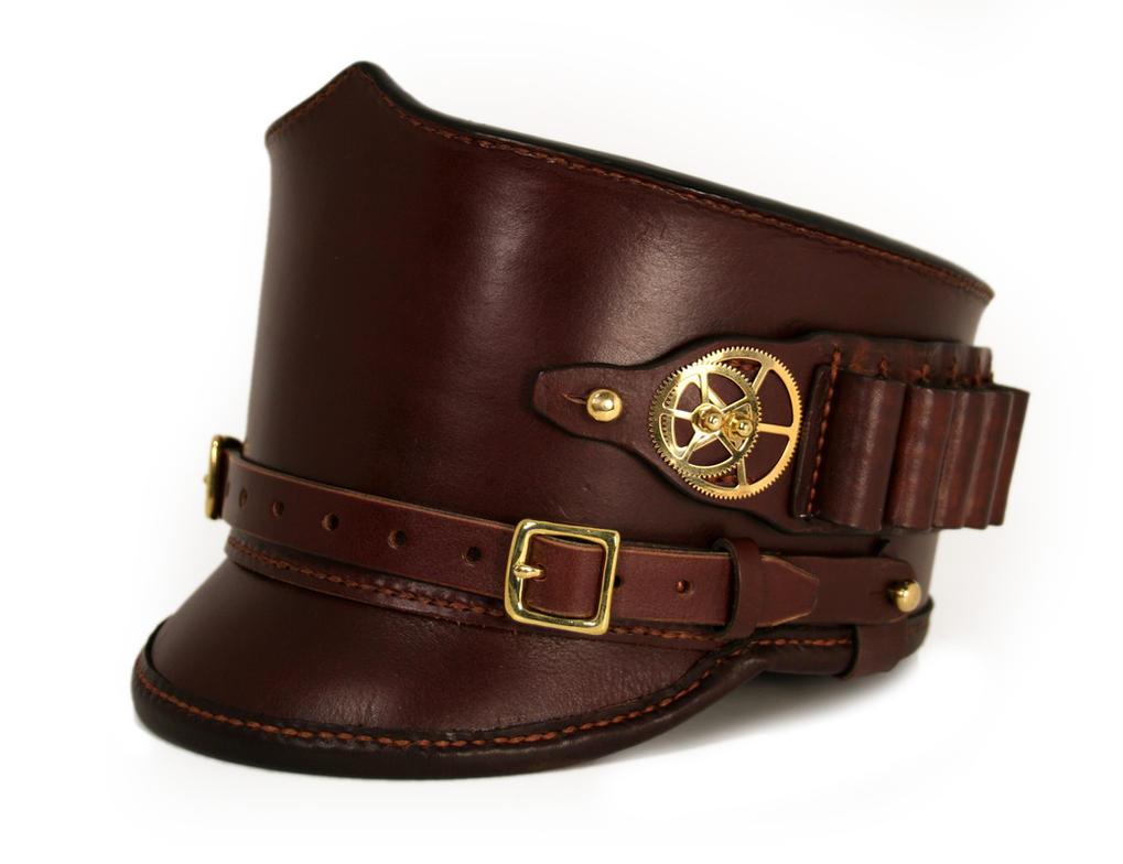 Steampunk leather shako hat with ammo holder 1 by AmbassadorMann