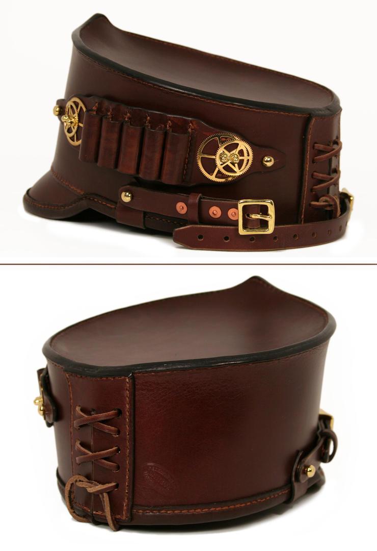 Steampunk leather shako hat with ammo holder 3 by AmbassadorMann