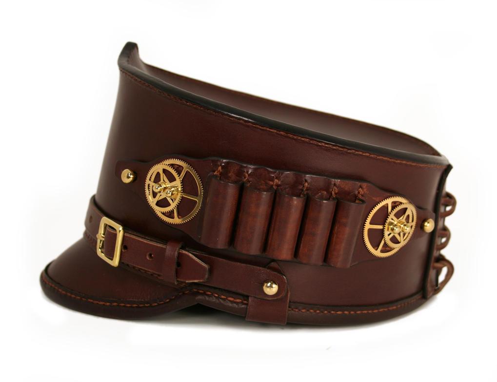Steampunk leather shako hat with ammo holder 2 by AmbassadorMann