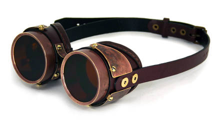 Goggles with heavy copper patina on brass