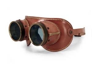 Aviator goggles - tan leather tarnished brass