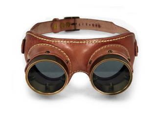 Aviator goggles - tan leather tarnished brass 2 by AmbassadorMann