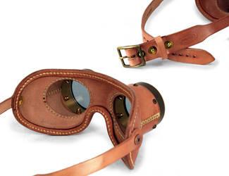 Aviator goggles - tan leather tarnished brass 4 by AmbassadorMann