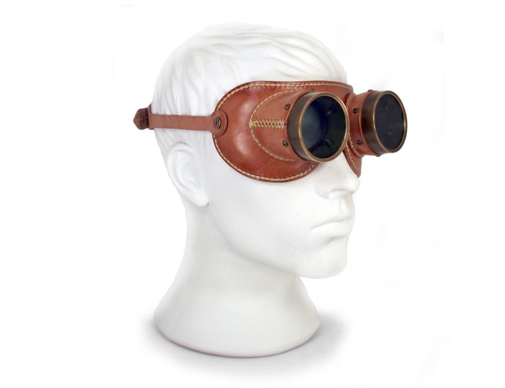Aviator goggles - tan leather tarnished brass 5 by AmbassadorMann
