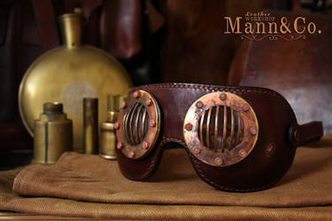 Goggles - coppered brass and brown leather