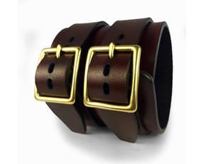 Brown leather double buckle bracelet