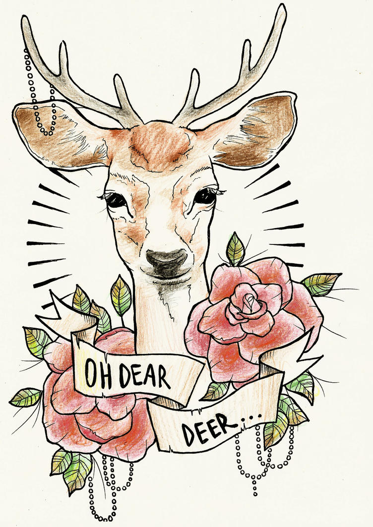 dear deer tattoo design by ziuuziuu on deviantart. Black Bedroom Furniture Sets. Home Design Ideas