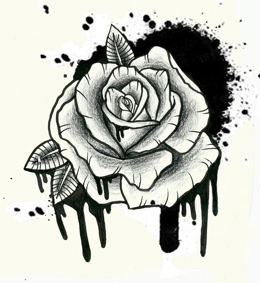 spray paint rose tattoo by ziuuziuu