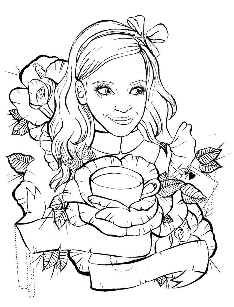 Out Line Art Design : Alice in wonderland tattoo design outline by ziuuziuu on