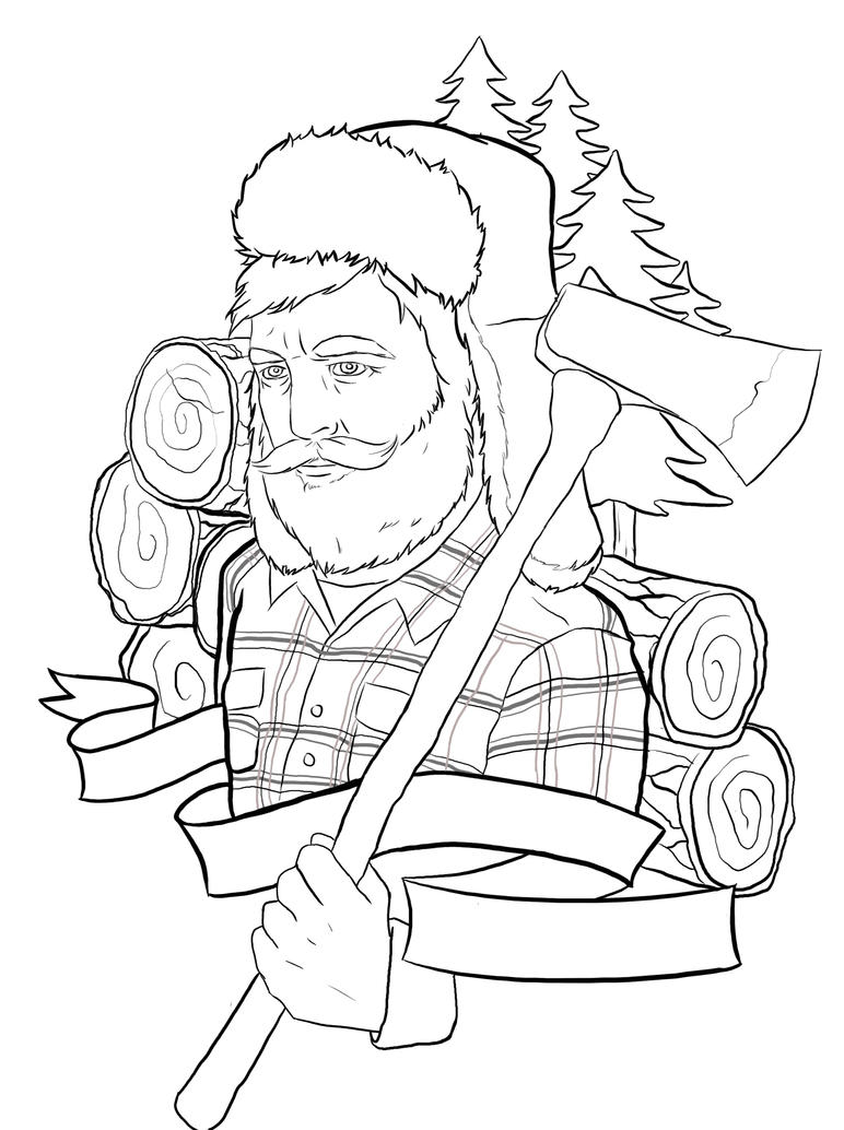 Tattoo Drawing Outline : Lumberjack tattoo outline by ziuuziuu on deviantart