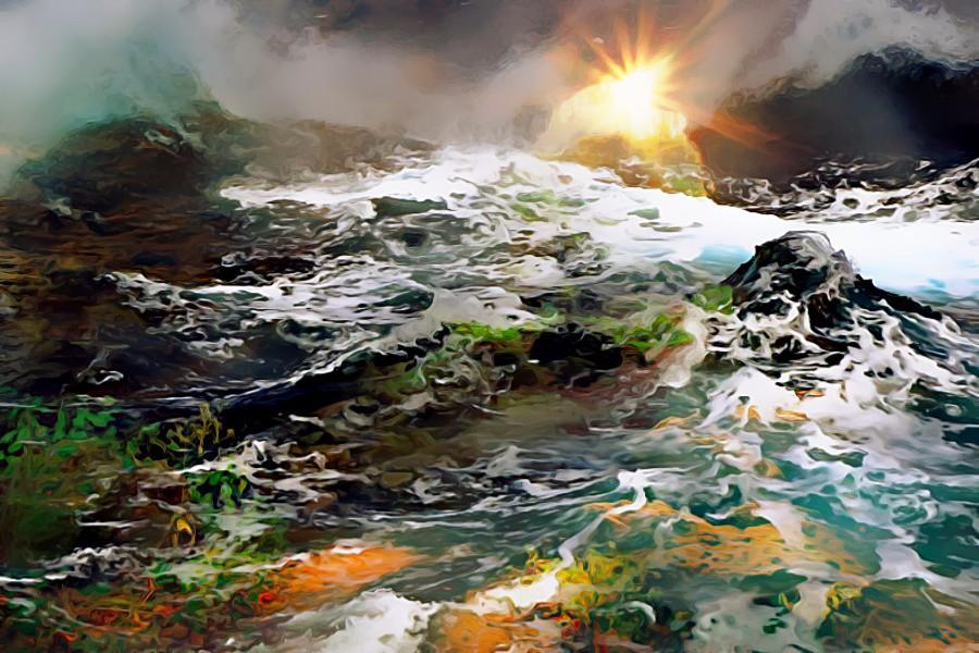Sunrise over the ocean by jaynedarcy