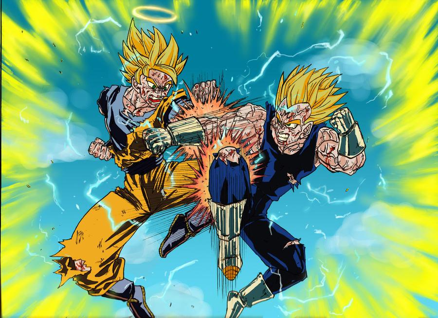 Goku Vs Majin Vegeta By Chincrise