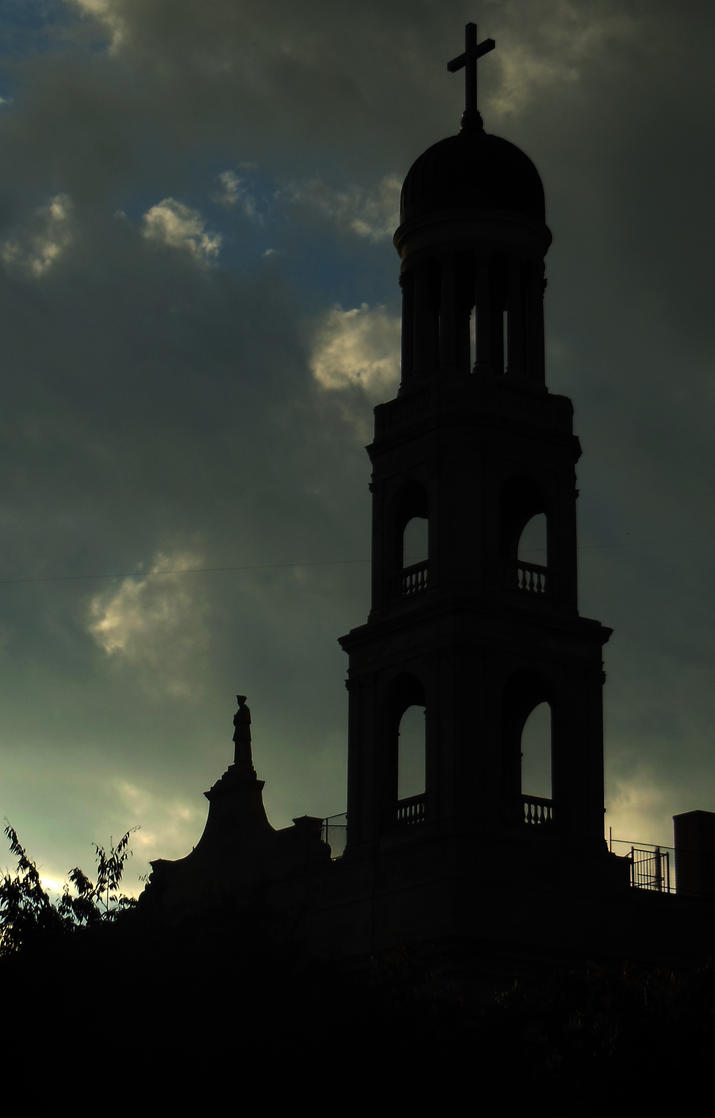 silhouette church and statue by Kaleena127
