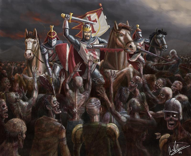 Knights VS Zombies by tricketitrick