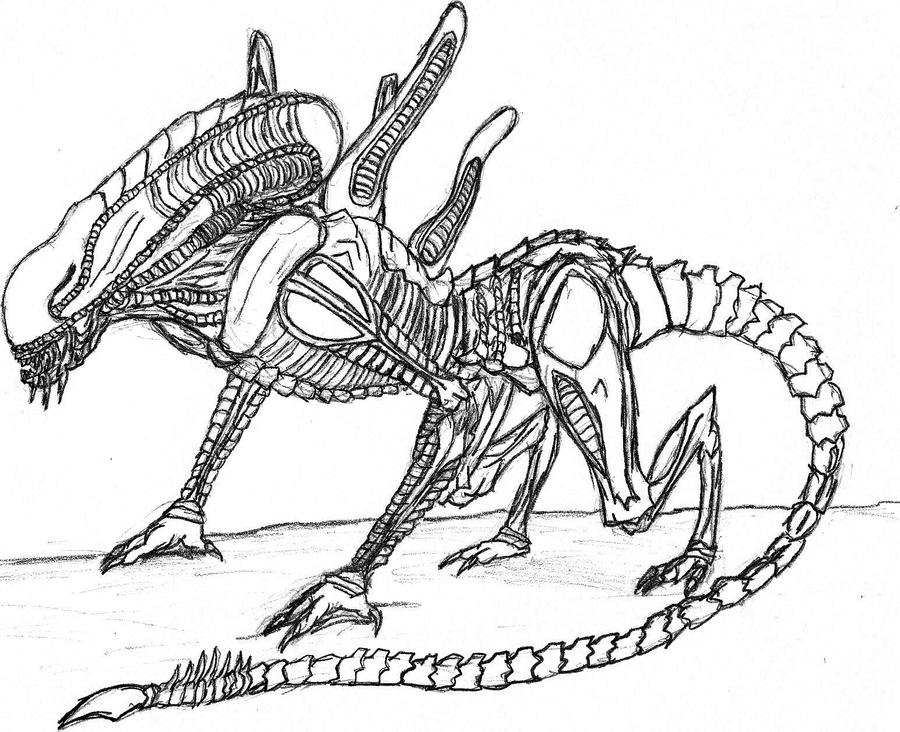 Another xenomorph by nk kerias on deviantart for Xenomorph coloring pages