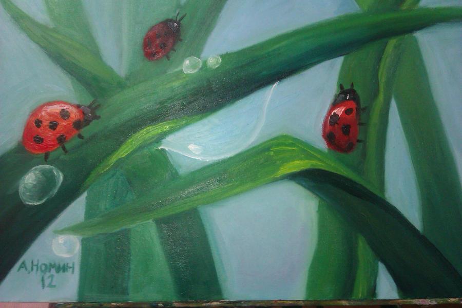 Ladybugs on grass by wolfspirit5511