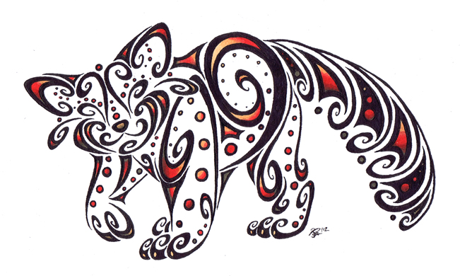 tribal animal drawing